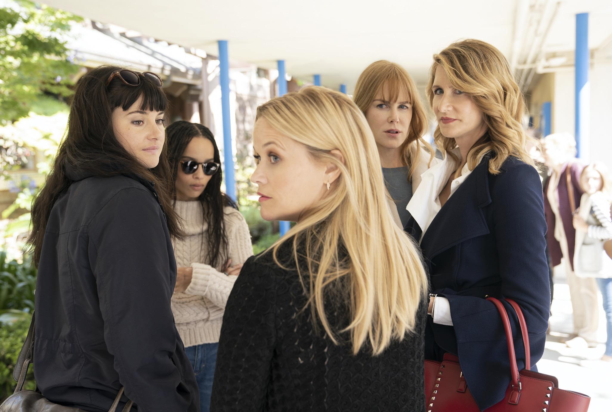 "Shailene Woodley, Zoë Kravitz, Reese Witherspoon, Nicole Kidman, Laura Dern in ""Big Little Lies"" |"