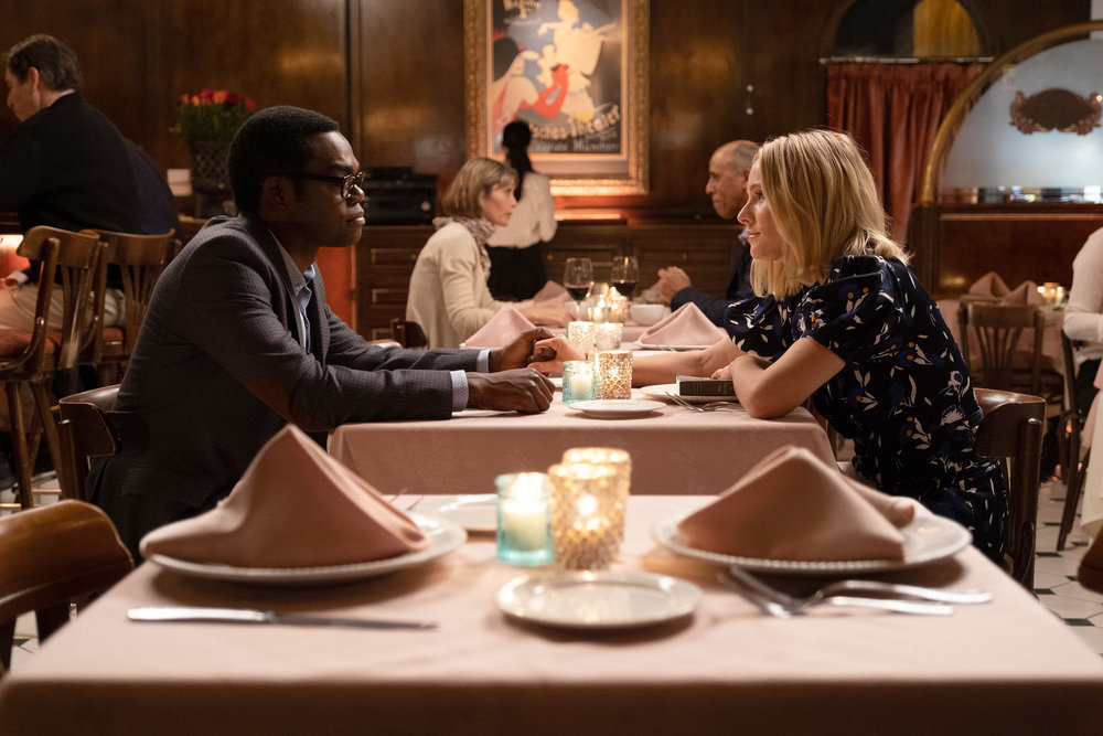"""William Jackson Harper as Chidi and Kristen Bell as Eleanor in The Good Place Season 4 Episode """"Once You Are Done"""""""