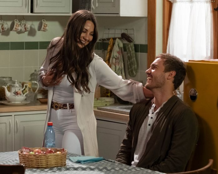 Kelley Flanagan and Peter Weber filming a telenovela on episode 6 of 'The Bachelor', in Chile.