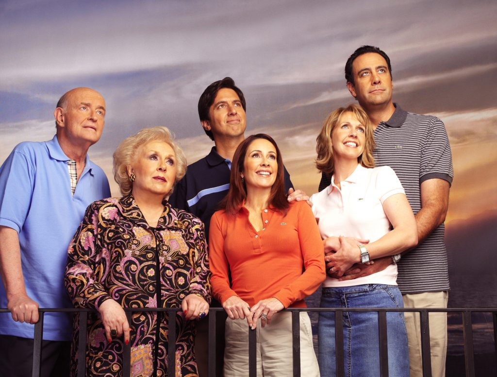 Cast of 'Everybody Loves Raymond': (lr) Peter Boyle, Doris Roberts, Ray Romano, Patricia Heaton, Monica Horan, and Brad Garrett