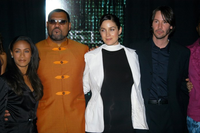 Jada Pinkett Smith, Laurence Fishburne, Carrie-Anne Moss, and Keanu Reeves