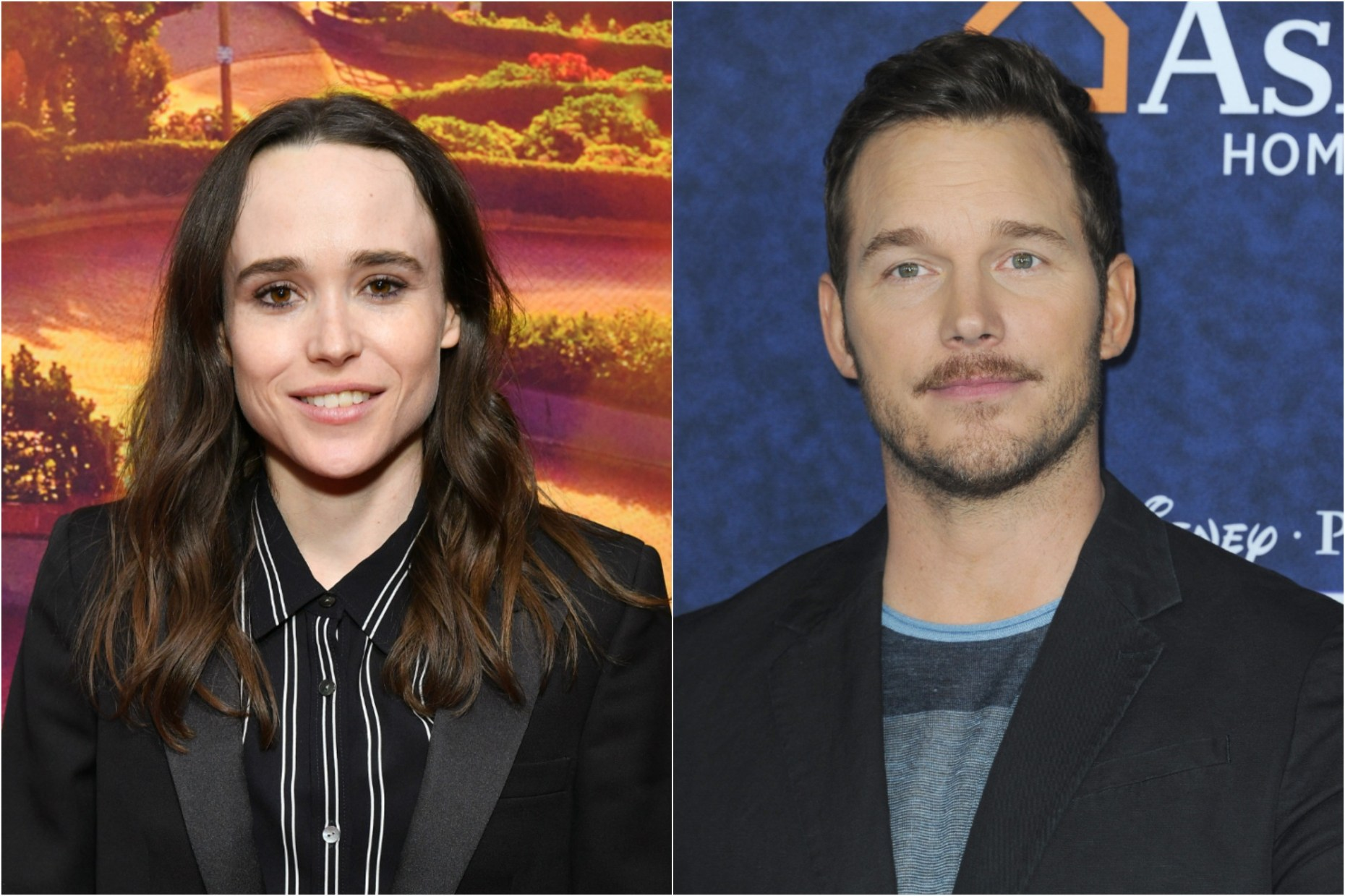Ellen Page at the New York premiere of 'The Tales of the City' at The Metrograph on June 03, 2019 / Chris Pratt at the premiere of Disney And Pixar's 'Onward' at the El Capitan Theater on February 18, 2020