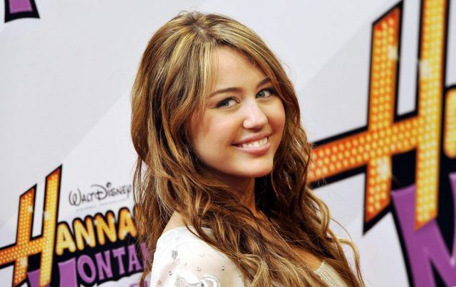 Miley Cyrus on the red carpet for the film 'Hannah Montana - The Movie' on April 25, 2009.
