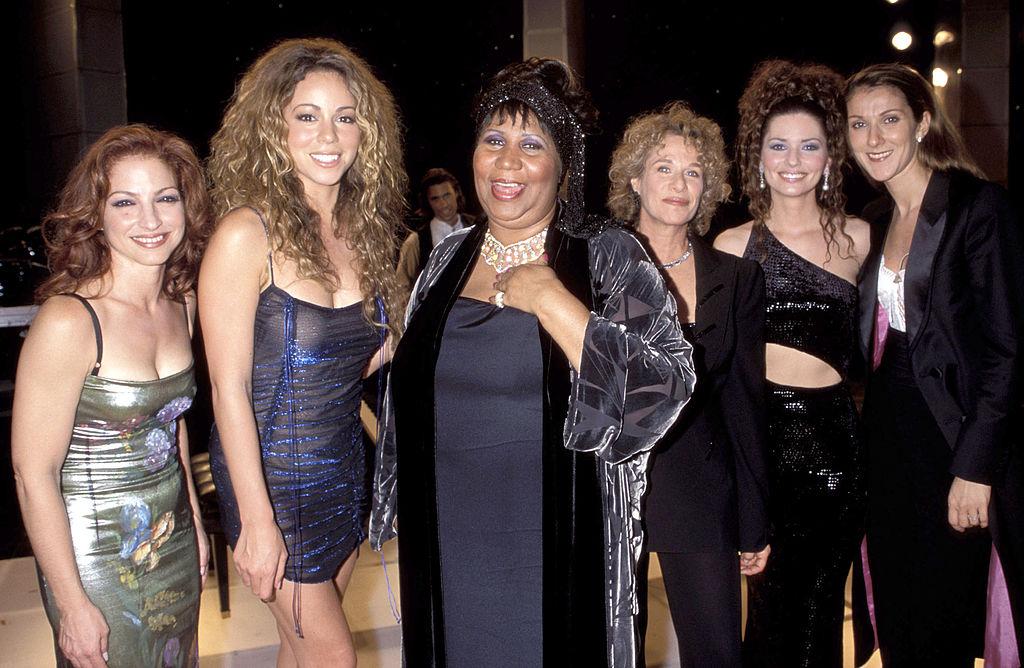 (LR) Gloria Estefan, Mariah Carey, Aretha Franklin, Carole King, Shania Twain and Celine Dion smiling