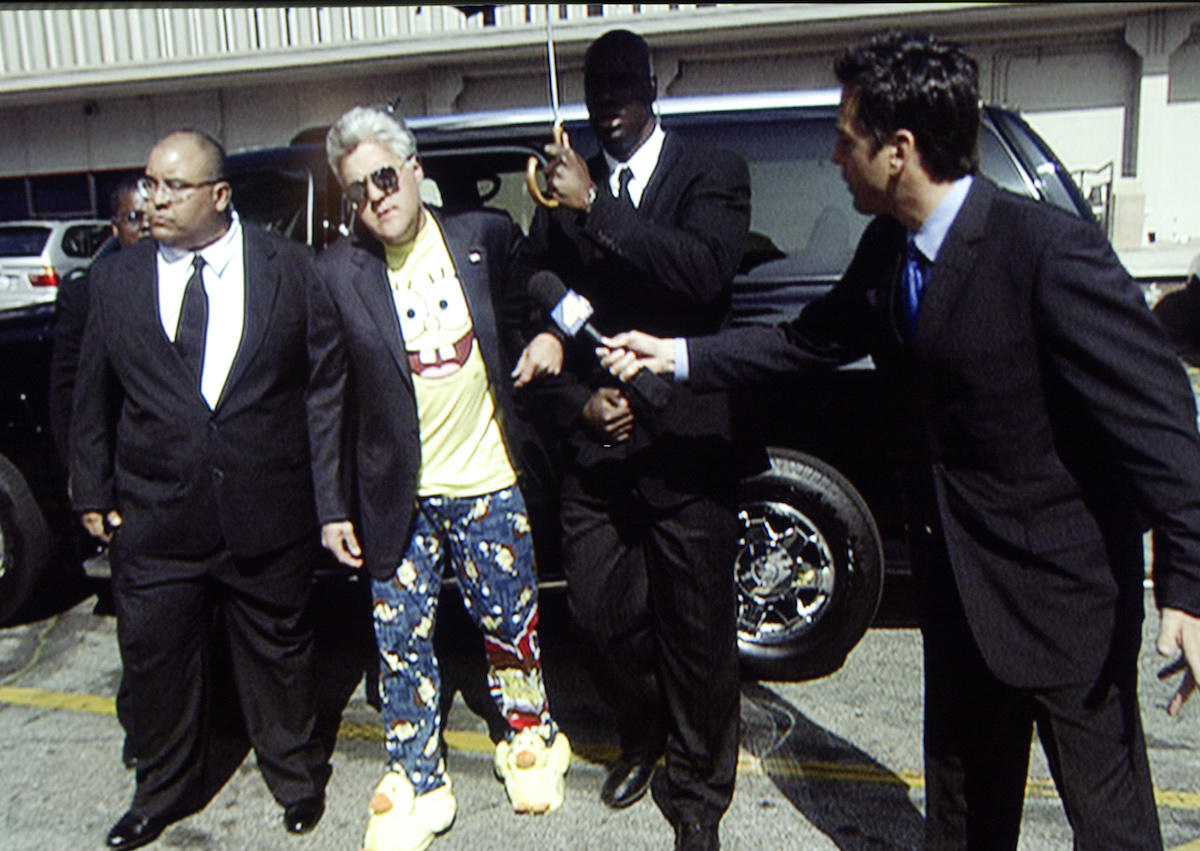 Jay Leno arrives at the studio to make a film