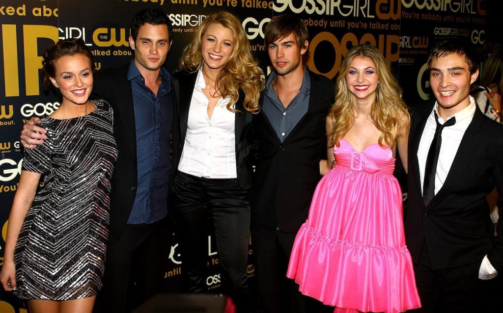 Leighton Meester, Penn Badgley, Blake Lively, Chace Crawford, Taylor Momsen, and Ed Westwick attend the 'Gossip Girl' launch party