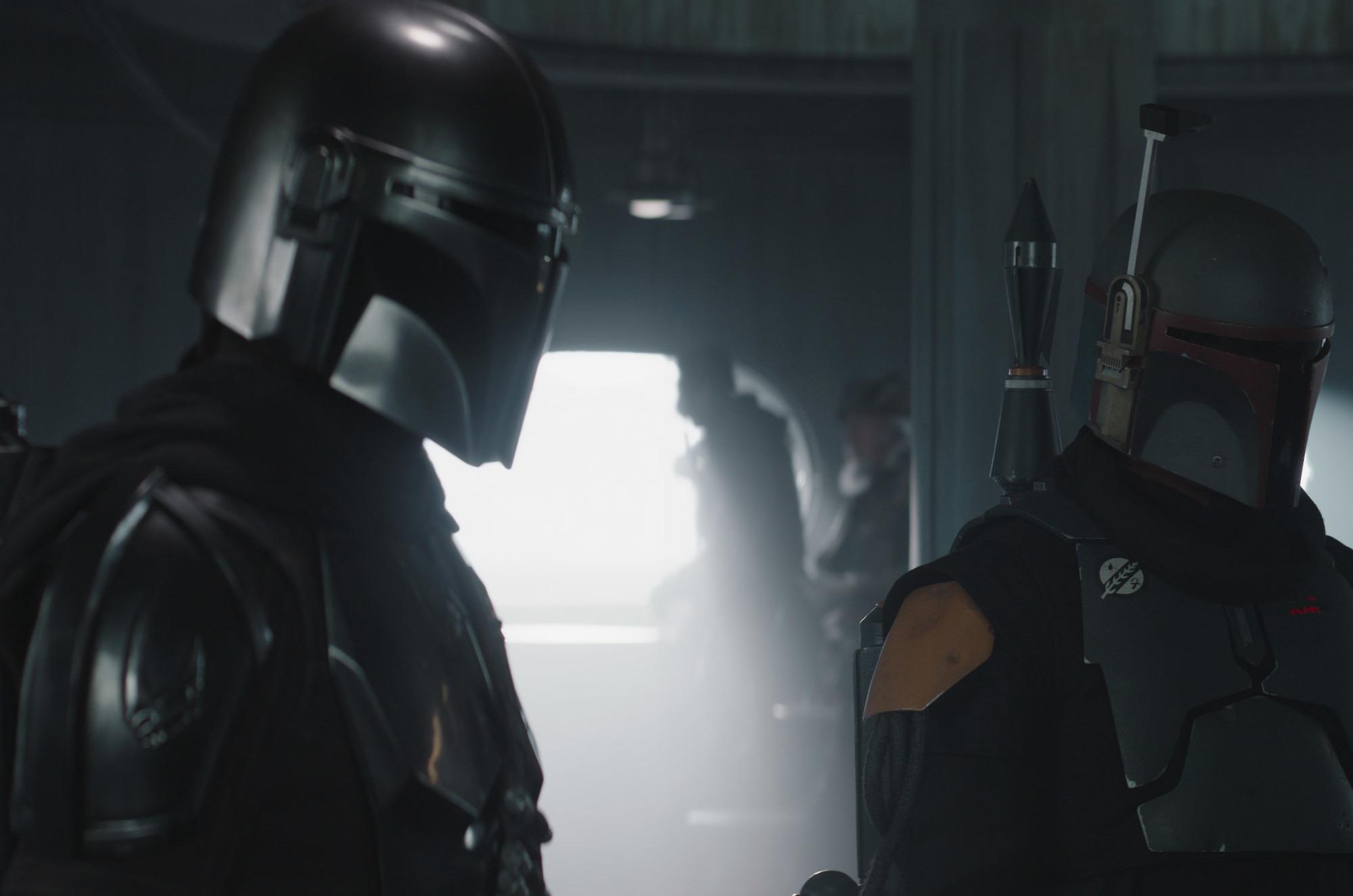 Mando and Boba Fett in season 2 of 'The Mandalorian'.