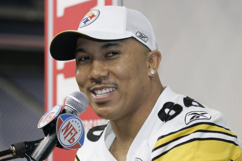 Hines Ward will speak at the Pittsburgh Steelers media day for Super Bowl XL at Ford Field in Detroit, Michigan on January 31, 2006.
