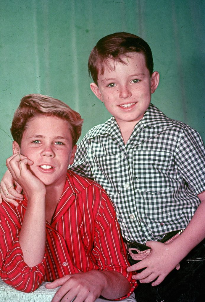 Advanced studio portrait of actors Tony Dow (L) and Jerry Mathers from the 1957 television series 'Leave It to Beaver'