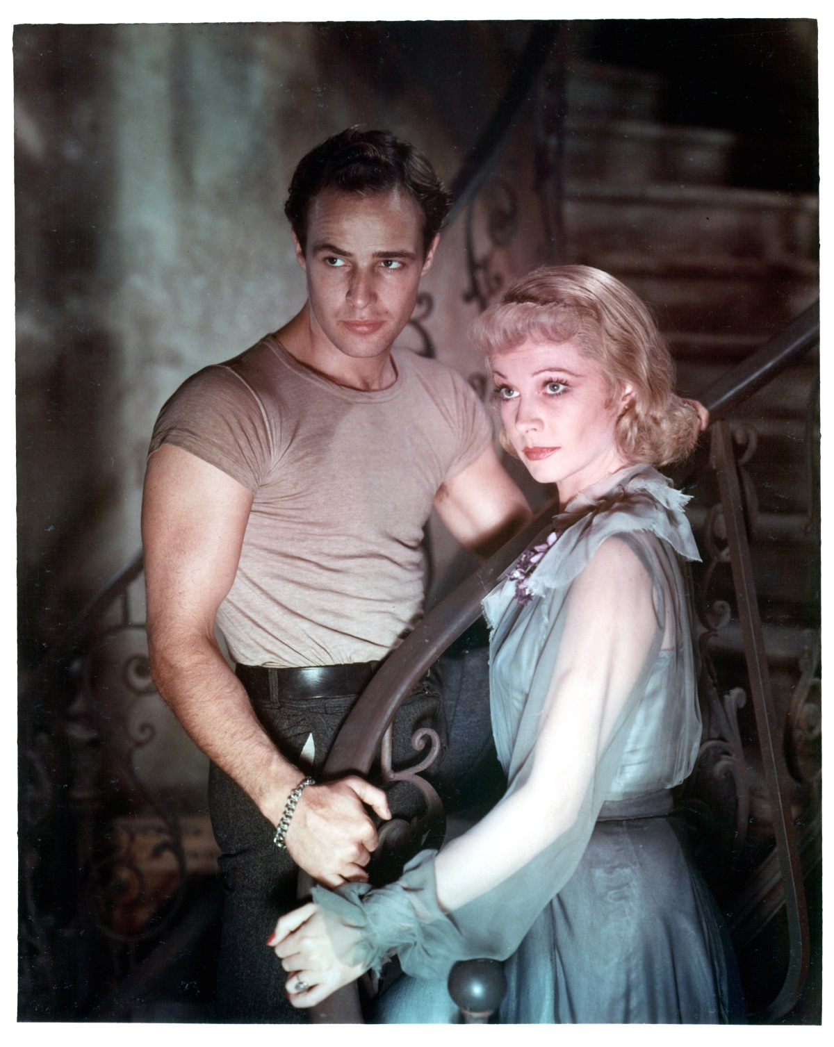 Marlon Brando with Vivien Leigh in 'A Streetcar Named Desire'
