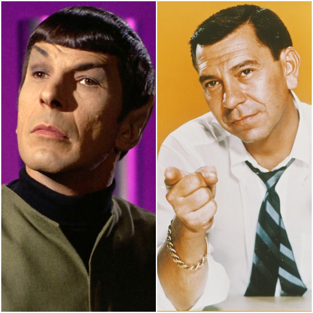 (L to R) Leonard Nimoy and Jack Webb from 'Dragnet'