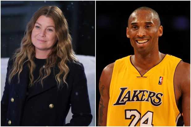 (From left to right): Ellen Pompeo on the set of Grey's Anatomy and Kobe Bryant