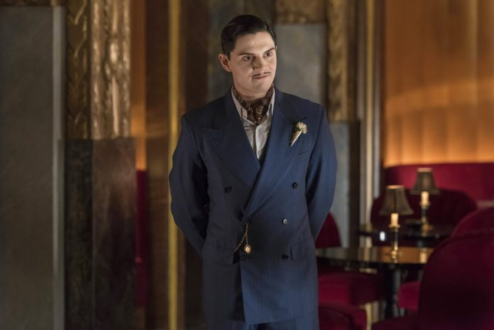 Evan Peters plays James Patrick March and he stands at the Hotel Cortez in 'American Horror Story: Hotel'.
