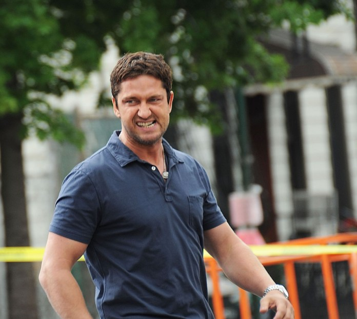 Gerard Butler on the set of the film