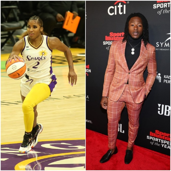(L) Guard T Cooper during the Indiana Fever vs Los Angeles Sparks WNBA game, (R) Alvin Kamara attends the Sports Illustrated Sportsperson of the Year Awards