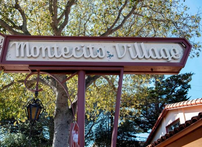 View of Montecito Village sign in Montecito, California