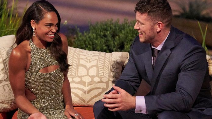 'The Bachelorette' Michelle Young and 'The Bachelor' Clayton Eckard sit together at the season 18 premiere