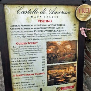 Pricing for tastings or tours at Castello di Amorosa