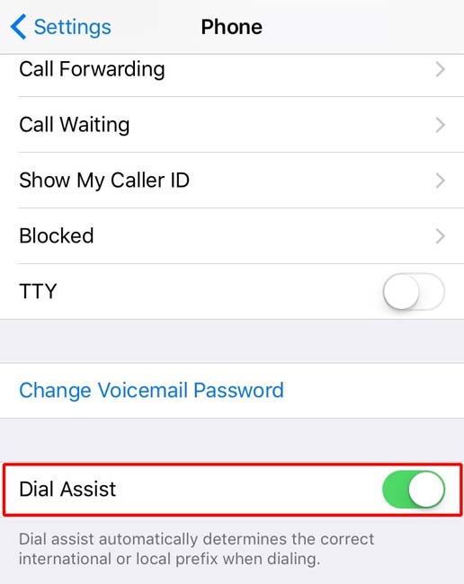 Dial Assist setting for Apple's iPhone
