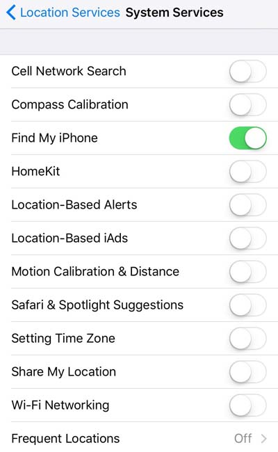 System Services setting for Apple's iPhone