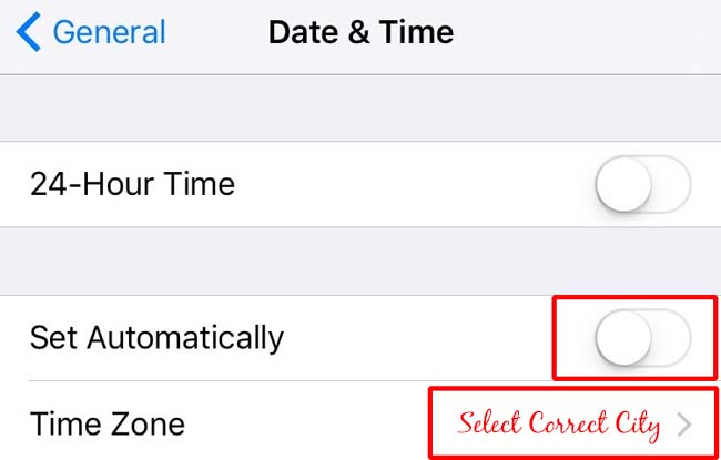 Time setting for Apple's iPhone