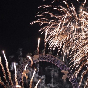 Fireworks and the London Eye - London, England