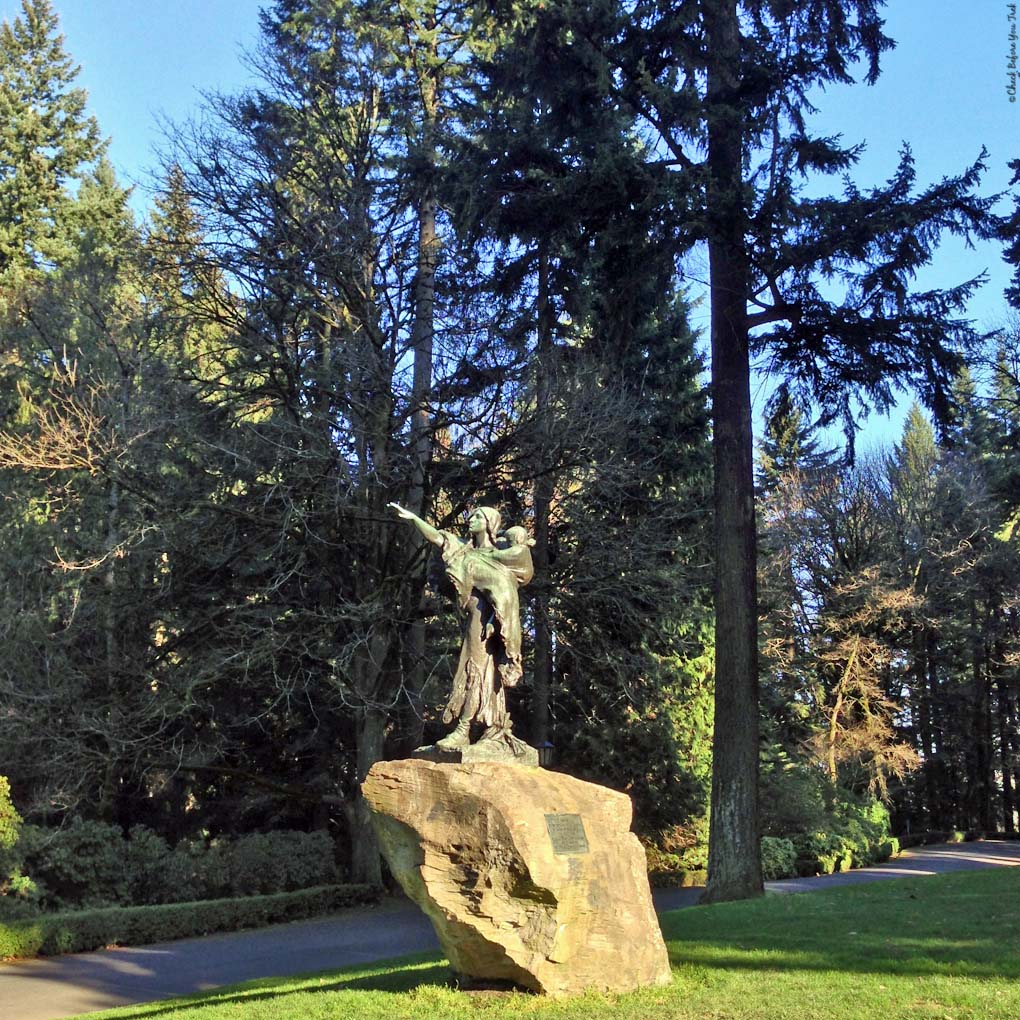 Statue of Sacajawea and her son Jean-Baptiste found in Washington Park - Portland, Oregon