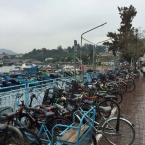 Bicycles along Cheung Chau's waterfront - Hong Kong, China