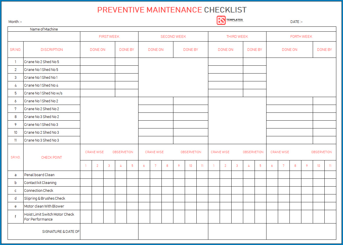 Preventative Maintenance Plan Template For Your Needs