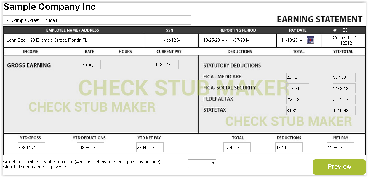 Fake Pay Stub Template. . pics photos maker create free sample for ...