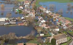 Aerial view of the flooded village of Moorland in Somerset