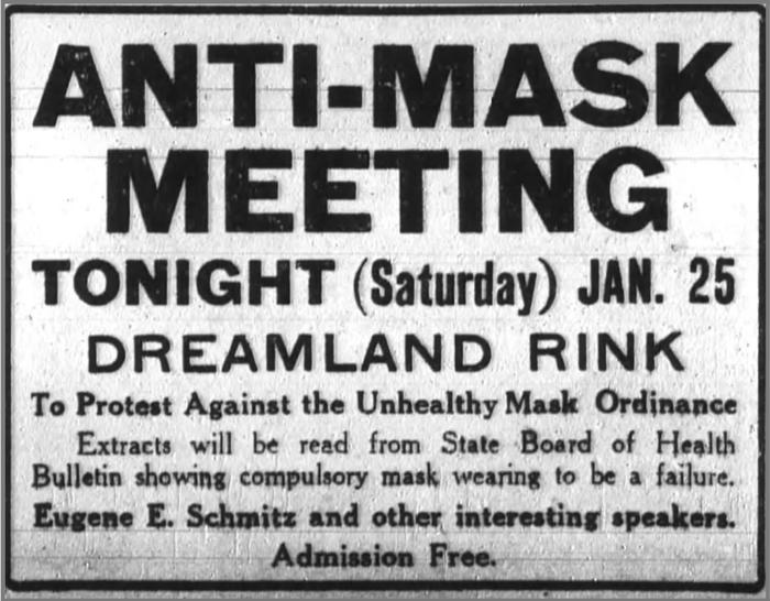 Anti Mask League Advertisement in San Fransisco, 1919