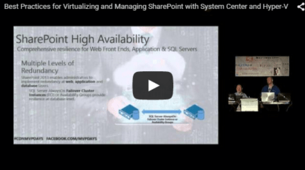 MVPDays Session – Best Practices for Virtualizing and Managing SharePoint with System Center and Hyper-V