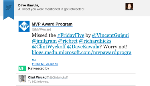 MVPAward #FridayFive