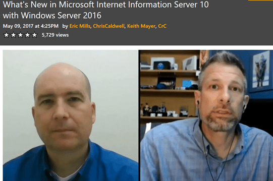 What's new in Microsoft Internet Information Server 10 with Windows Server 2016 .@ch9 #MVPHour