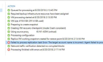 The Case of Veeam Replica Job failing – Target Account Name Incorrect – #Veeam #StorageSpacesDirect #HyperV