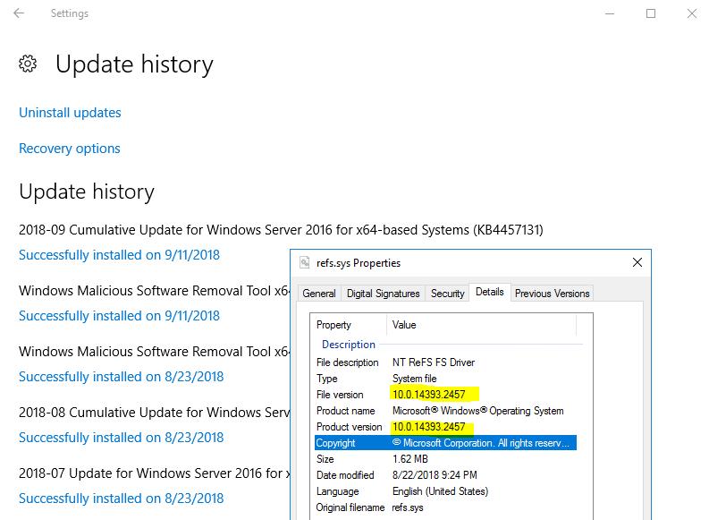 Hidden Updates to ReFS sys Version 2457 in Microsoft KB434884