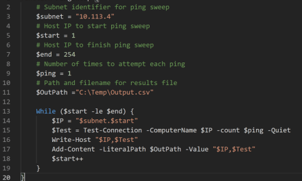 Ping Sweep Using PowerShell – Turning Into A Function – #PowerShell #MVPHour #PingSweep