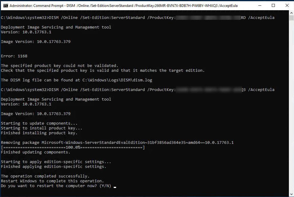 change windows server product key command line