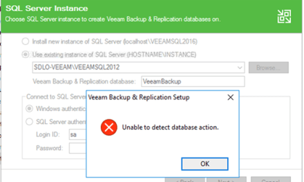 VEEAM TROUBLESHOOTING TIPS – Error Unable to detect database action to upgrade Veeam Backup and Replication 9.5 Update 4a #VEEAM #MVPHOUR #WINDOWSSERVER