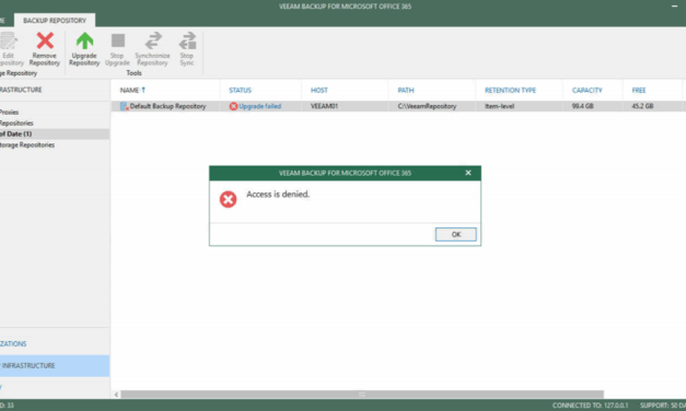 FIXED Access is Denied Error for upgrading VBO 365 Default Backup Repository to V4 #Veeam #VBO 365 #Office 365 #Backup #Mvphour