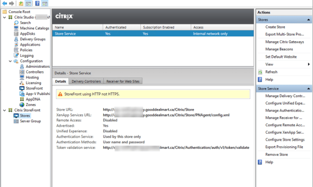 How to Fix Citrix StoreFront store service is using HTTP not HTTPS issues