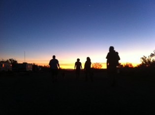 Walking at sunset, Slab City
