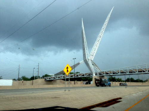 The SkyDance Bridge in OKC. Yes, we're just escaping the big Tornado...