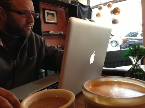 Working on the road - capturing free wifi at a cafe in Virginia.