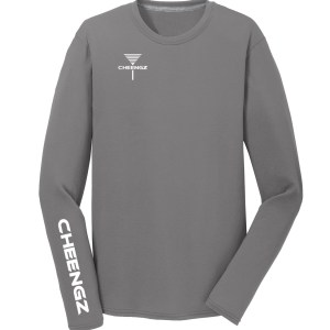 disc golf tee, cheengz disc golf tee, dry fit disc golf tee, long sleeve frisbee golf tee
