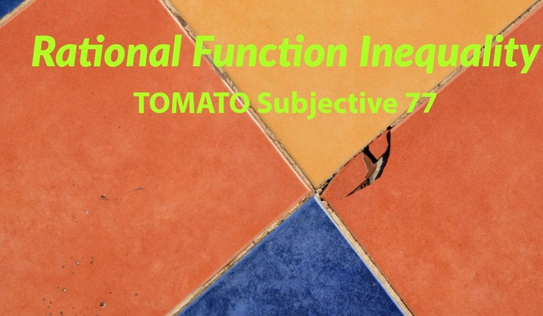 Test of Mathematics Solution Subjective 77 – Rational Function Inequality