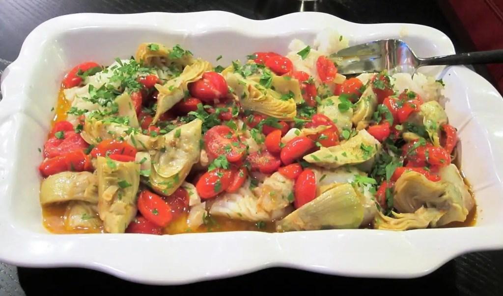 Cod Escabeche with Tomatoes and Artichoke Hearts