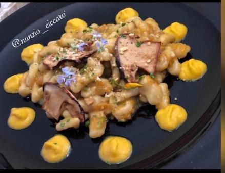Nunzio Di Lorenzo: Gnocchi Crema di Zucca, Porcini,Noci e Fiori di Zucchine