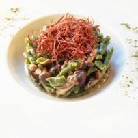 Michele Traina: Gnocchetti di spinaci, bresaola di cavallo, funghi chiodini con mouse di caprino.